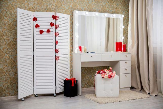 Макияжный гримерный туалетный визажный столик стол визажиста Белый