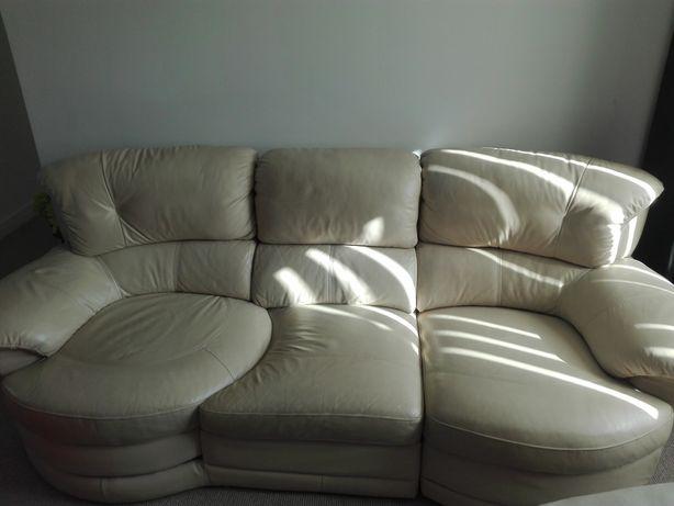 Sofa skórzana kremowa
