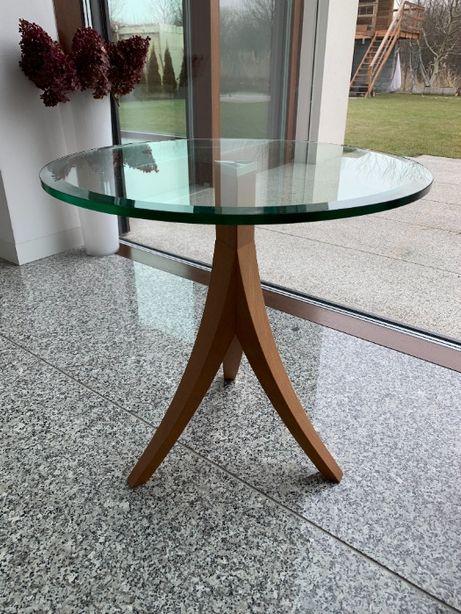 stolik okrągły szklany blat na drewnianych nogach włoski