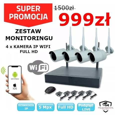 Zestaw monitoringu IP WiFi  podgląd tel Monitoring/Kamery
