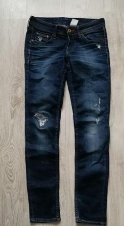 H&M spodnie jeans damskie w26 l30 skinny low waist dziury