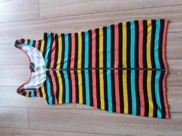 Sukienka mini w paski kolorowa