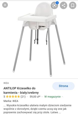 Krzeselko do karmienia Ikea antilop białe tacka