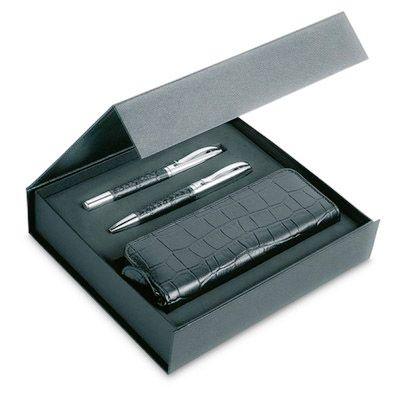 Elegancki komplet długopis i cienkopis + piórnik; skóra krokodyla