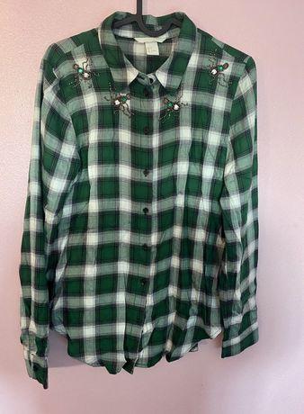 HM Camisa quadrados verdes com apliques abelhas 36  (nova s/etiqueta)