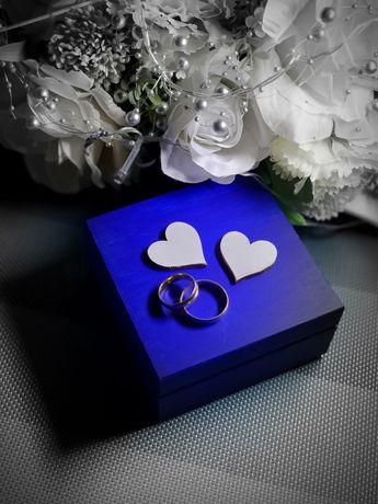 Pudełko na obrączki niebieskie chabrowe