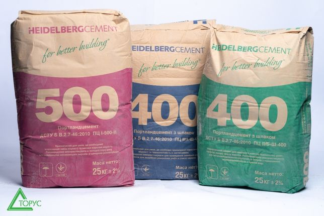 Цемент марка 400, 500 Кривой Рог-Завод, марка II/А-Ш-400 СИНИЙ (25к