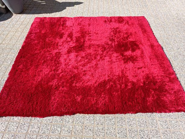 Carpete vermelha de pelo alto 2.00x2.00