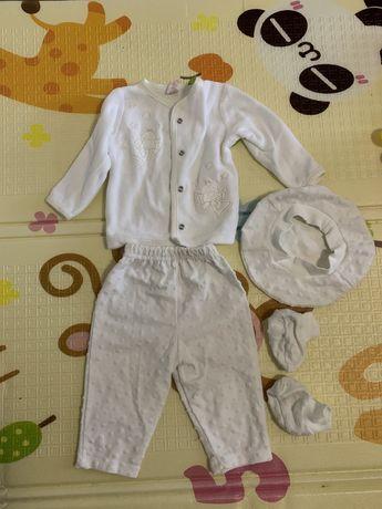 Набор для крещения белый крестильный костюм
