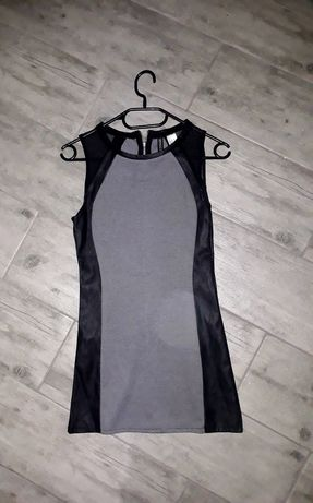 Krótka sukienka h&m ekoskóra rock punk mini