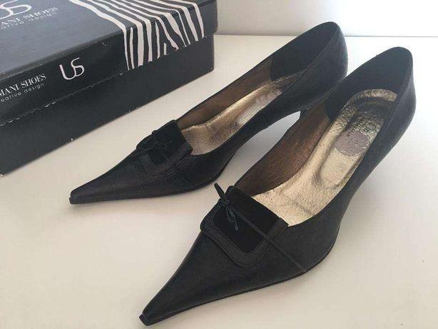38 Ulmani czarne półbuty skórzane szpilki buty niski obcas eleganckie