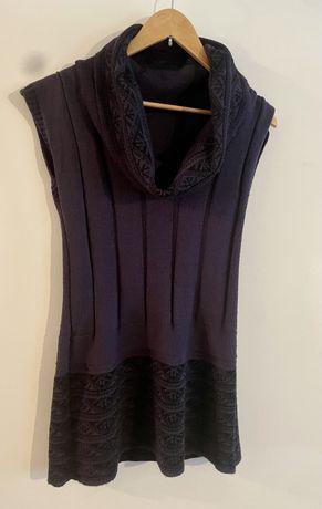 Sweterek tunika bez rękawów z golfem. akryl fioletowy 38/40 M / L.
