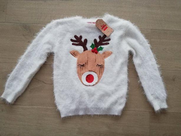PRIMARK Modny sweterek renifer cekiny roz. 134cm /8-9 lat