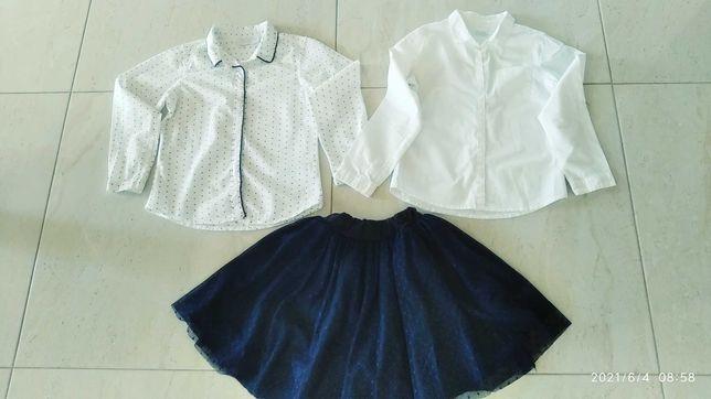 Bluzka biała cool club + granatowa spódnica tiulowa- strój galowy