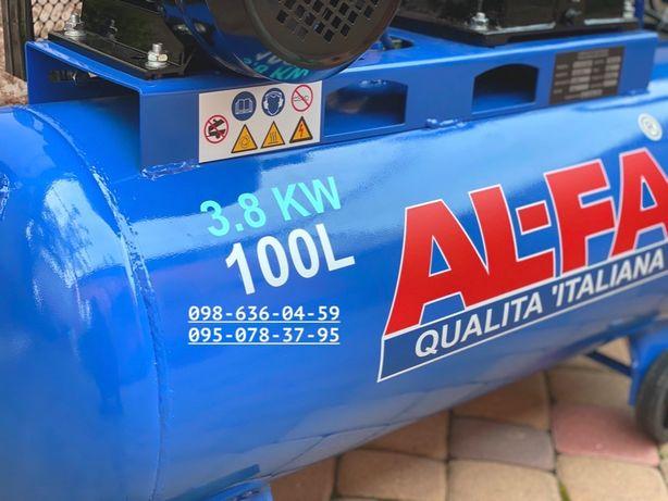 Ременной компрессор Al-Fa 100л повітряний компресор 660л/мин