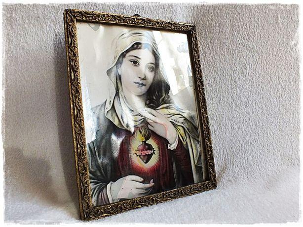 Stary Obraz Św. Marii Panny w ozdobnej złoconej ramie Matka Boska