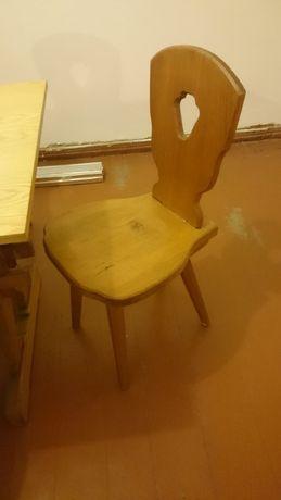 Stół drewniany sosnowy + 6 krzeseł