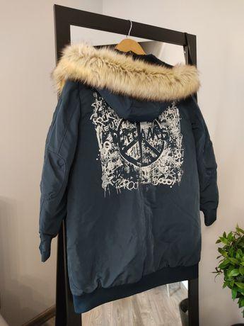Kurtka zimowa płaszcz Zara trafaluc nadruk plecy kaptur futerko M 38