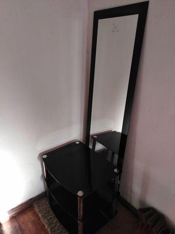 Duże wysokie lustro czarne eleganckie stolik szklany rtv przedpokój