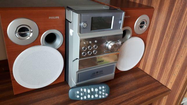 Wieża mikrowieża Hi-Fi Philips MCM390 odtwarzacz cd mp3 kaset + pilot