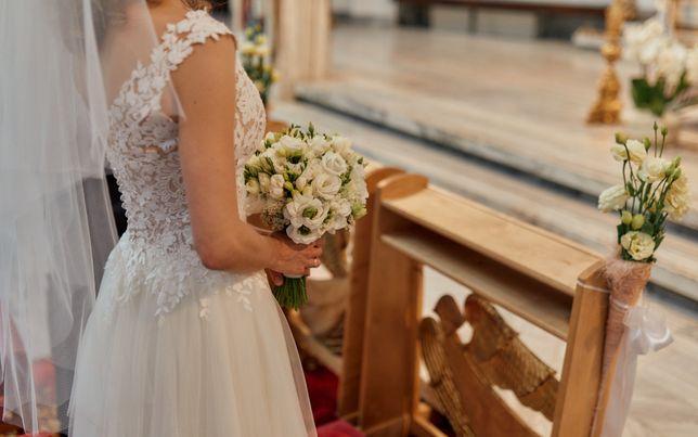 Suknia Ślubna rozmiar 32/xxs (dla drobnej osoby) + welon + pokrowiec