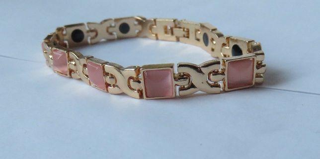 Bransoleta bransoletka magnetyczna jasno różowe kamienie