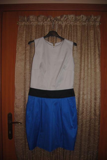Sukienka czarno - kremowo - niebieska z kieszeniami rozm. 36 - 38