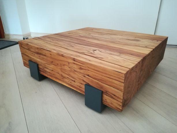 stół kawowy, dębowy, loft - stare drewno