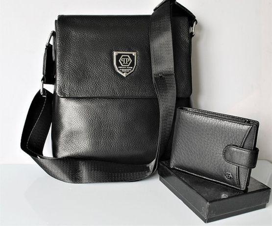 Мужской подарочный набор: кожаная сумка и кошелек Philipp Plein Black