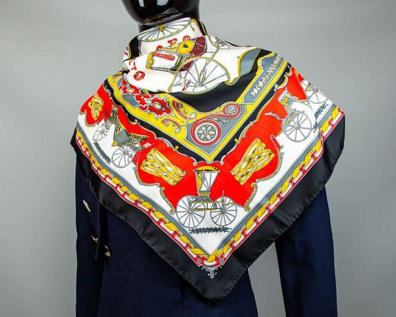 Фирменный шелковый платок Carriagess.Большой платочек в стиле Hermes