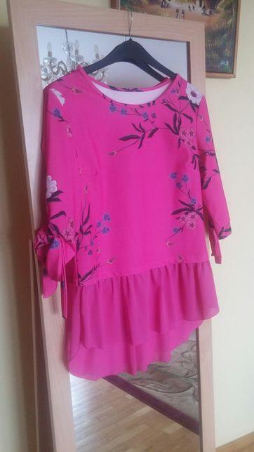 Bluzeczka, tunika w kwiaty, kolor fuksja, roz. S/M