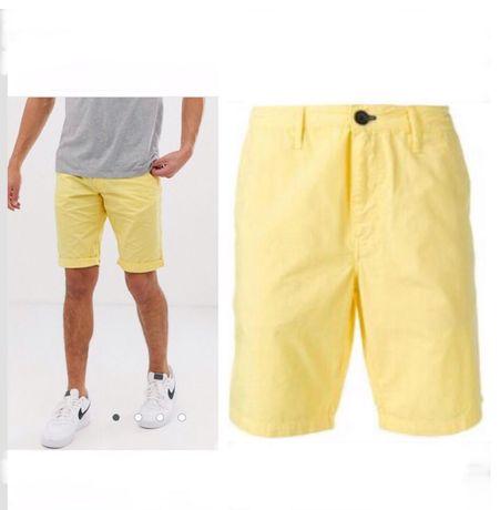 хлопковые мужские шорты с отворотом chino яркие лимонные шорты