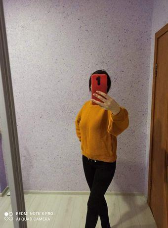 Вязаный свитер оверсайз с объемными рукавами 42 - 46 размер
