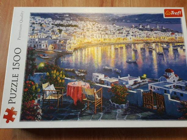 Trefl Puzzle 1500 Mykonos o zachodzie słońca