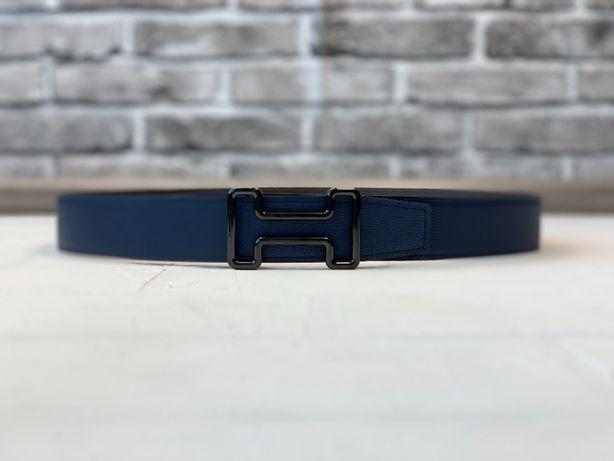 Мужской синий кожаный ремень пояс пасок Hermes Ермес Гермес r101