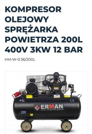 Kompresor olejowy 3-tłokowy ERMAN model EM200L 400V