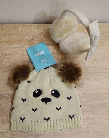 Nowa czapka + nauszniki za darmo _ bejo animal bear hat miś Z METKĄ