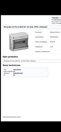 Skrzynka n/t Fix-o-Rail 55 -12 mod, IP55 z listwami