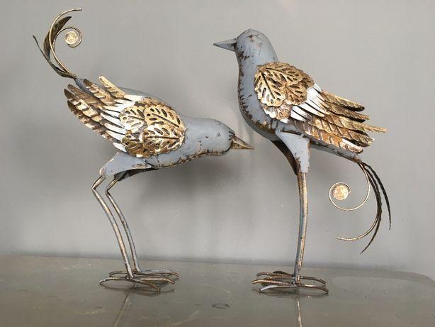 ptak wróbel metalowy dekoracja złota
