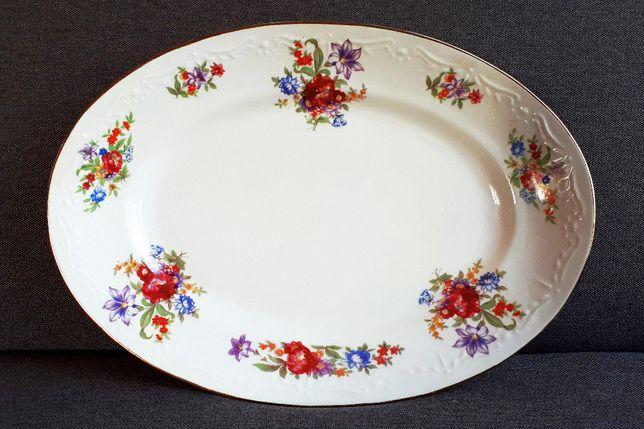 Półmisek biały dekorowany z złotym rantem KAROLINA vintage dł.39x27cm