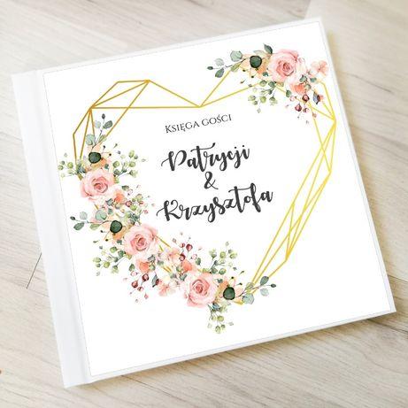 Księga gości na wesele z geometrycznym wzorem i kwiatuszkami