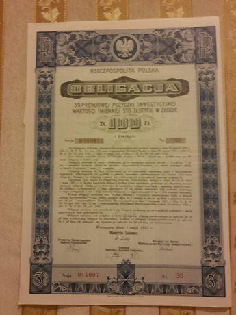 Obligacja 3% Premiowej Pożyczki Inwestycyjnej 1935r