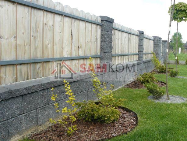 Pustak łupany ogrodzeniowy ogrodzenie łupane CJ Blok grafit antracyt