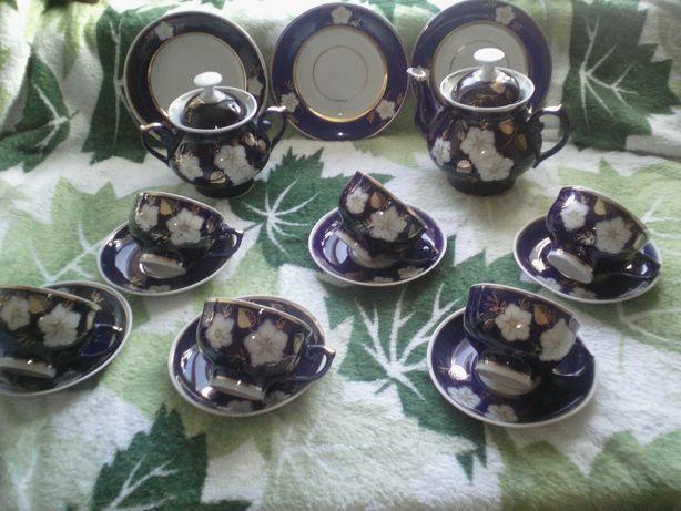 Сервиз посуда фарфор кобальт синий довбыш Яблоневый цвет