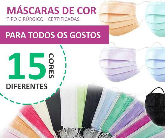 Máscaras cirúrgicas descartáveis (tb cores)-SUPER PREÇO (2.49€- 50un)