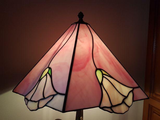 Candeeiro vitral flor rosa 100%Tiffany