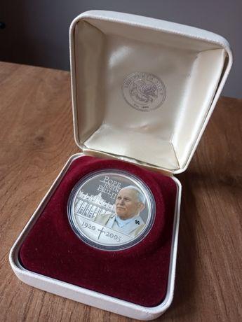 Srebrna moneta kolekcjonerska - 1 Dolar, Jan Paweł II, 2005, Perth.