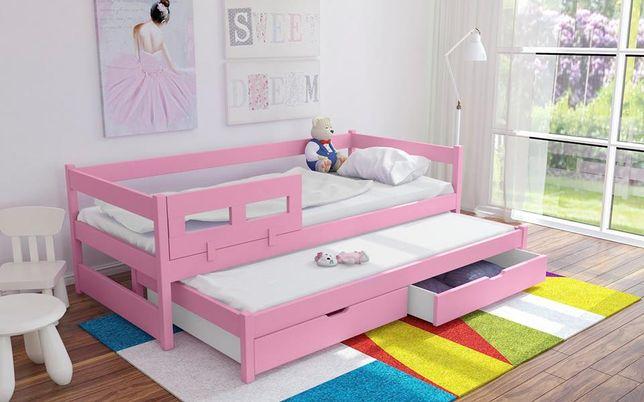 Łóżko drewniane dwuosobowe dla dzieci Alan, materace gratis!