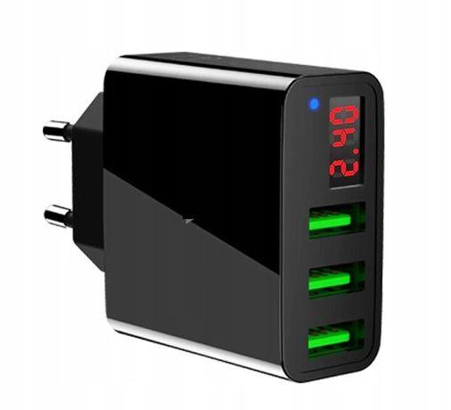 ŁADOWARKA sieciowa USAMS CC035 3X 3x USB 3 porty LCD rock T14