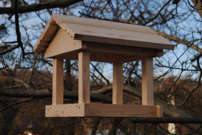 Karmnik dla ptaków drewniany naturalny